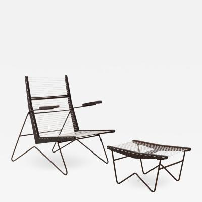 Martin Eisler Carlo Hauner 1950s Metal and Rope Lounge Armchair and Ottoman