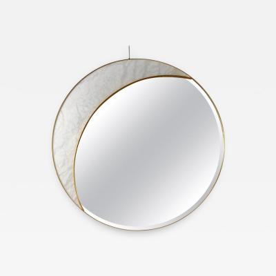Studio Glustin Alabaster and Brass Mirror by Studio Glustin
