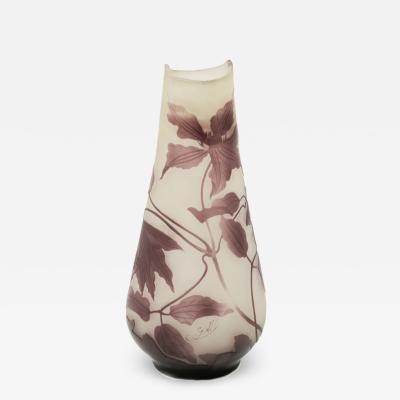 mile Gall 1900s Antique Emile Galle Art Glass Vase