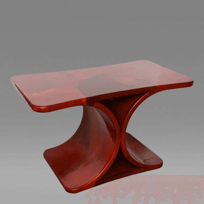 Karl Springer Red Lacquered Goatskin Side Table Karl Springer USA 1970s
