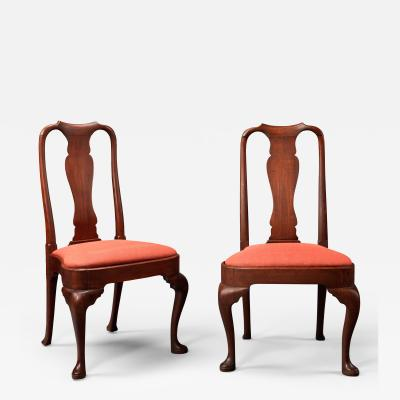 Pair of Rare Queen Anne Side Chairs with Turned Stiles