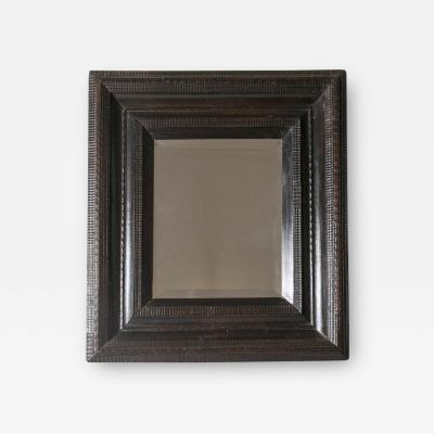 18th C Italian Walnut Ebonized Mirror with Finely Carved Guilloche Detail