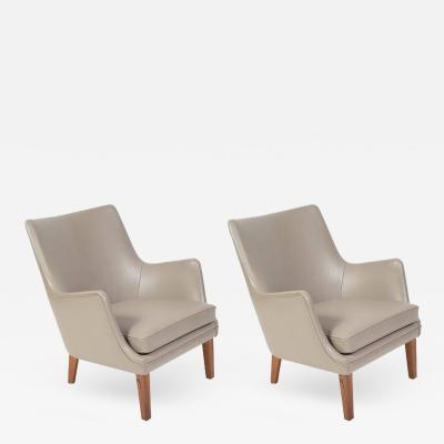Arne Vodder Pair of Arne Vodder Leather Lounge Chairs by Ivan Schlechter Denmark 1953
