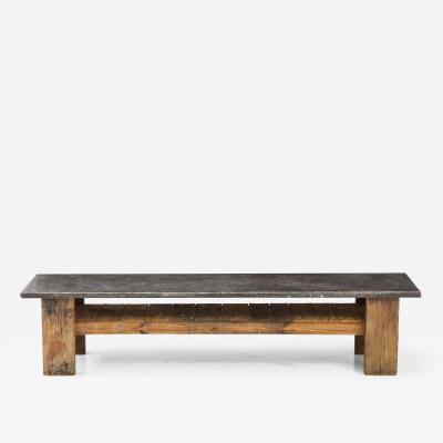 Belgian Bluestone Oak Coffee Table with Shelf France c 1900