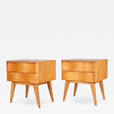 Edmond Spence Edmond Spence Wave Front Two Drawer Nightstands or Side Tables Sweden 1950s