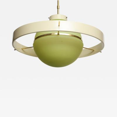 Green Glass Midcentury Satellite Pendant Light Italy 1950s
