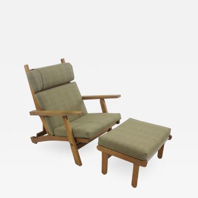 Hans Wegner Scandinavian Modern Oak Frame Lounge Chair Ottoman Designed by Hans Wegner