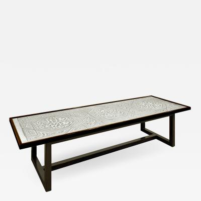 Harvey Probber Rare Harvey Probber Etched Metal Top Coffee Table 1950s