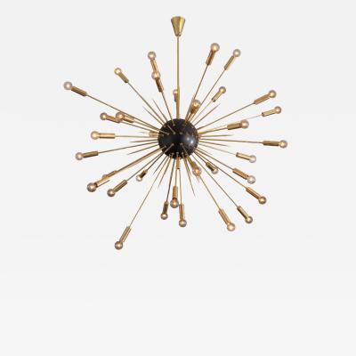 Large Black and Brass Midcentury Style Sputnik Pendant Italy 2019