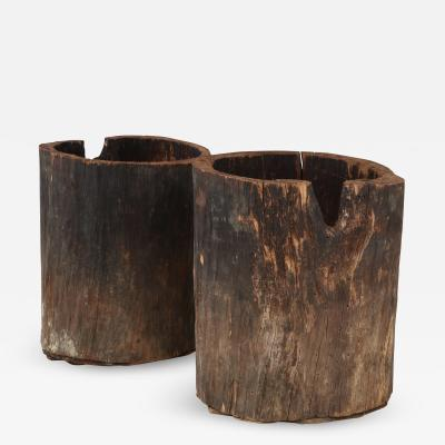 Pair of Rare Very Large French Wood Primitive Vessels Planters c 1900