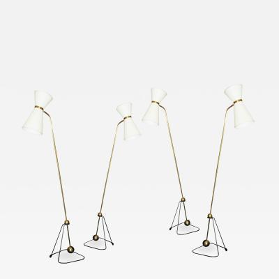 Pierre Guariche Rare Set of Four Floor Lamps Model of Pierre Guariche 1970