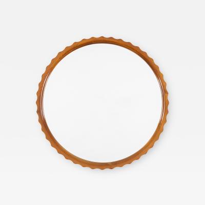 Scandinavian Modern Pie Crust Mirror in Elm Wood