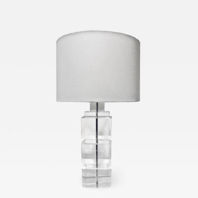 Solid Block Lucite Table Lamp 1970s