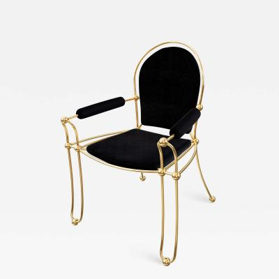 Troy Smith Contemporary Solid Brass Dining Chair with Pony Hide Upholstery