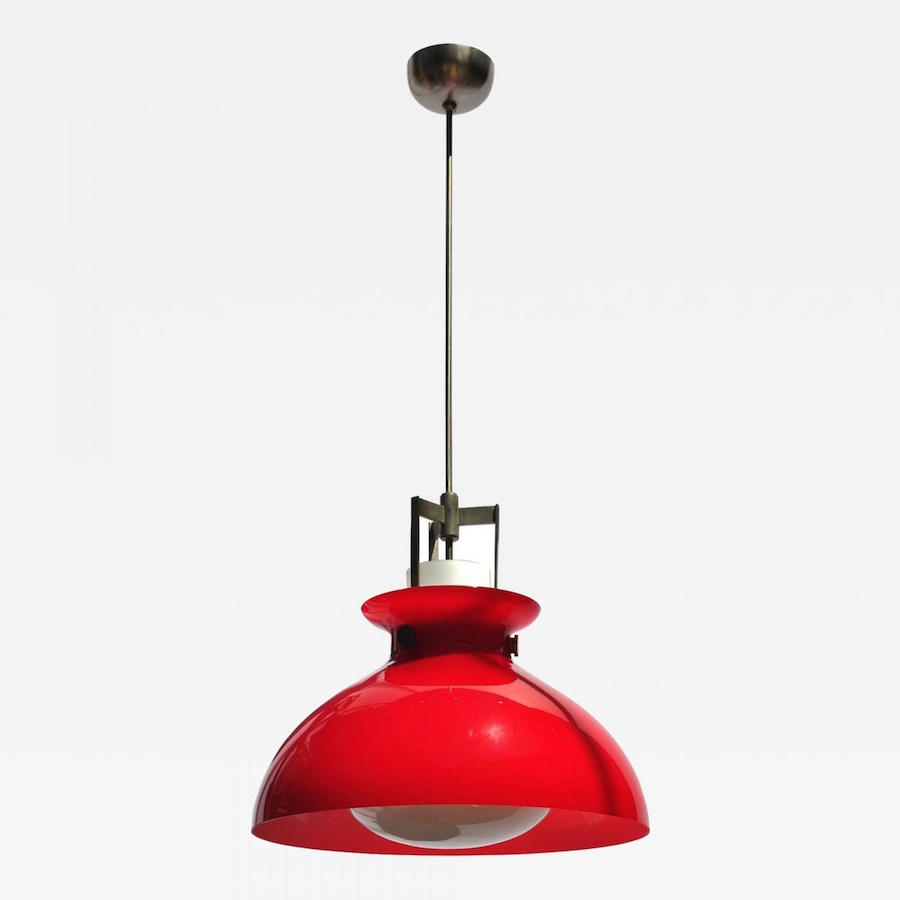 Studio Venini pendant Murano Italy circa 1950s. Red and white cased glass with heavy white internal diffuser married to richly aged nickeled brass ...  sc 1 st  Incollect & 20th Century Illuminators: 10 Master Lighting Designers u0026 Makers azcodes.com
