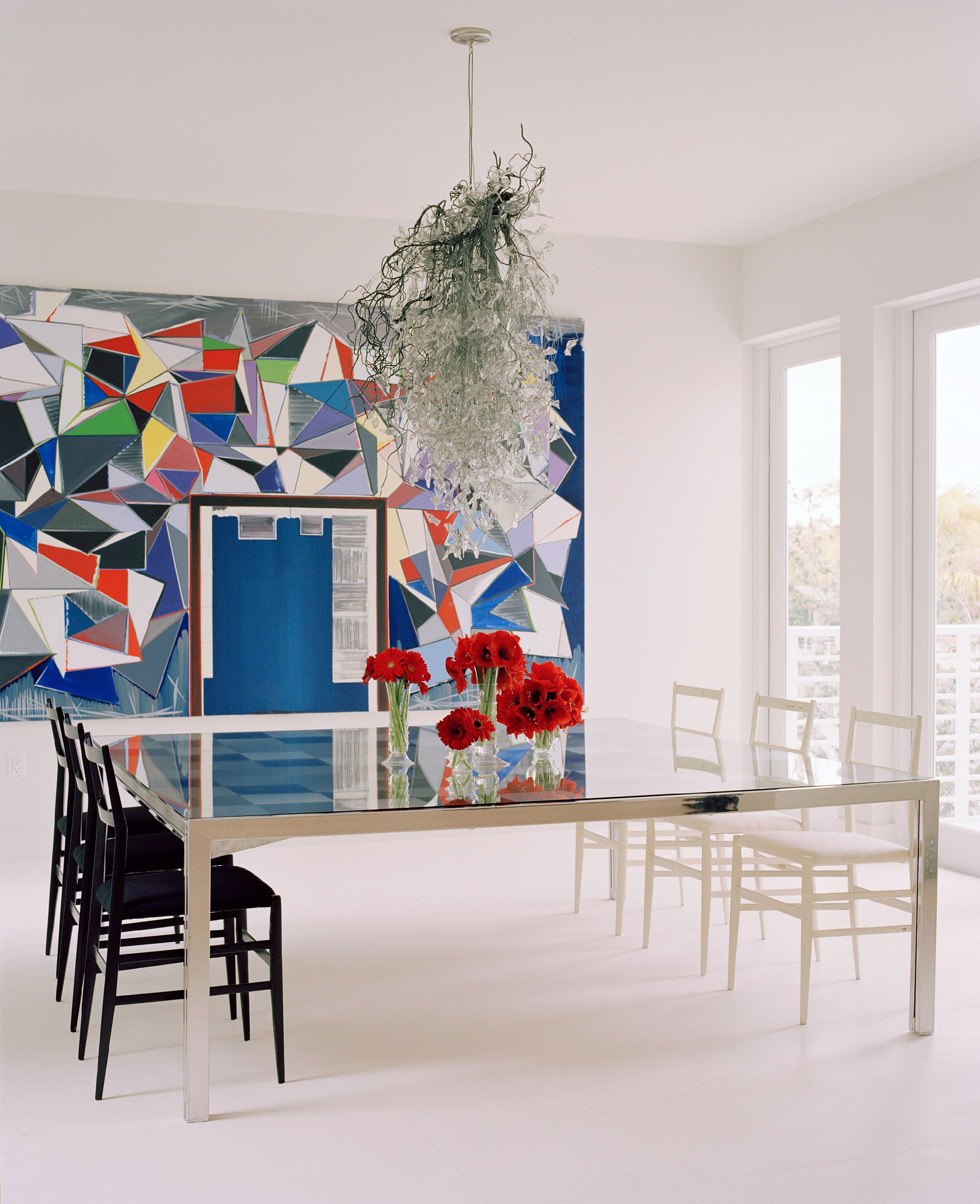 In The Spare And Elegant White Backdrop Of The Dining Room, The Dynamic  Geometry Of A Large Scale Painting By German Artist Thomas Scheibtz And A  ...