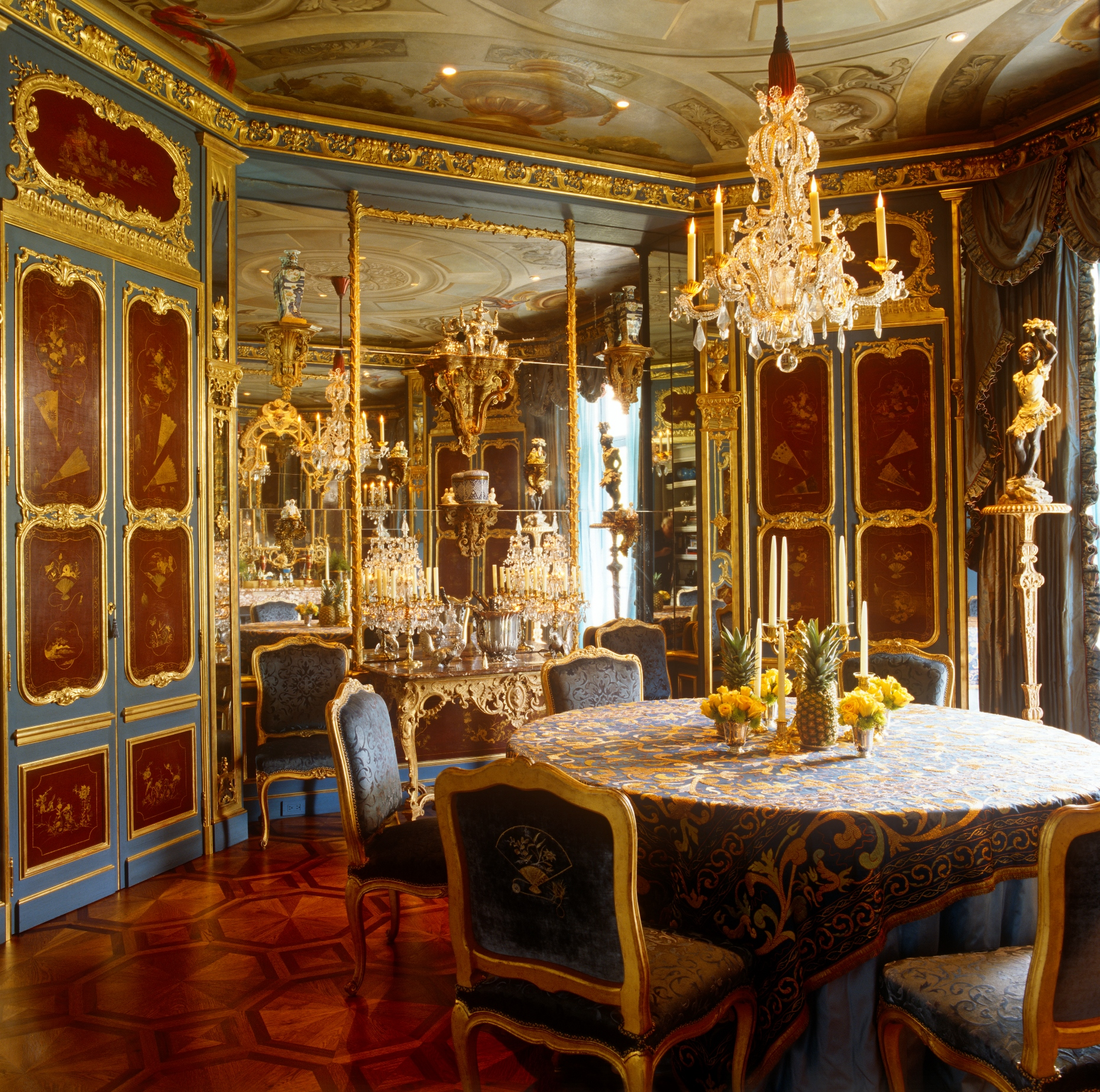 The Regence Inspired Dining Room Is Illuminated By A Rare Louis XIV Rock  Crystal Chandelier Each