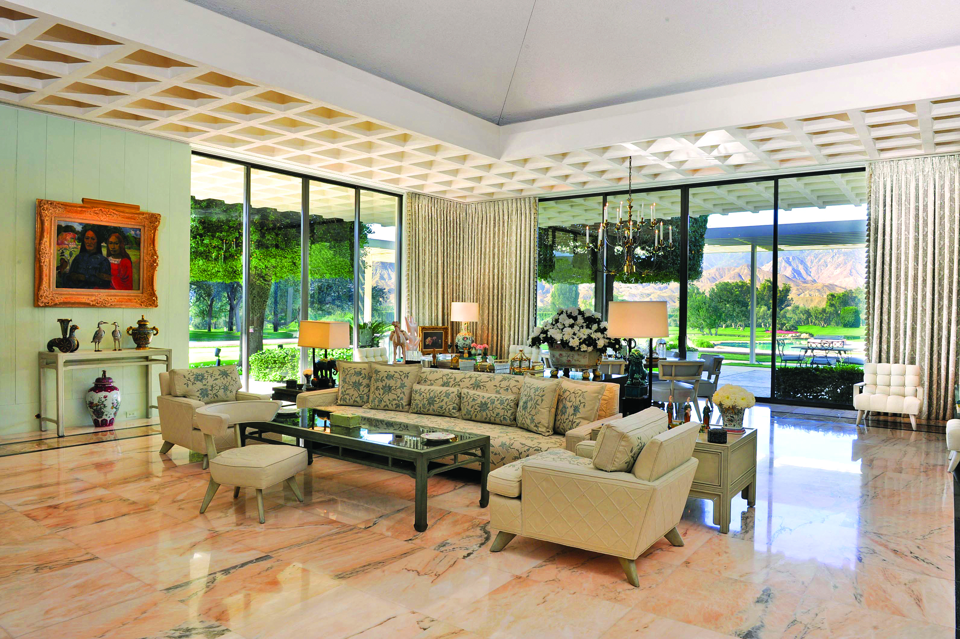 the living room of the sunnylands estate house which features many original furniture designs by decorator william haines photo by graydon wood