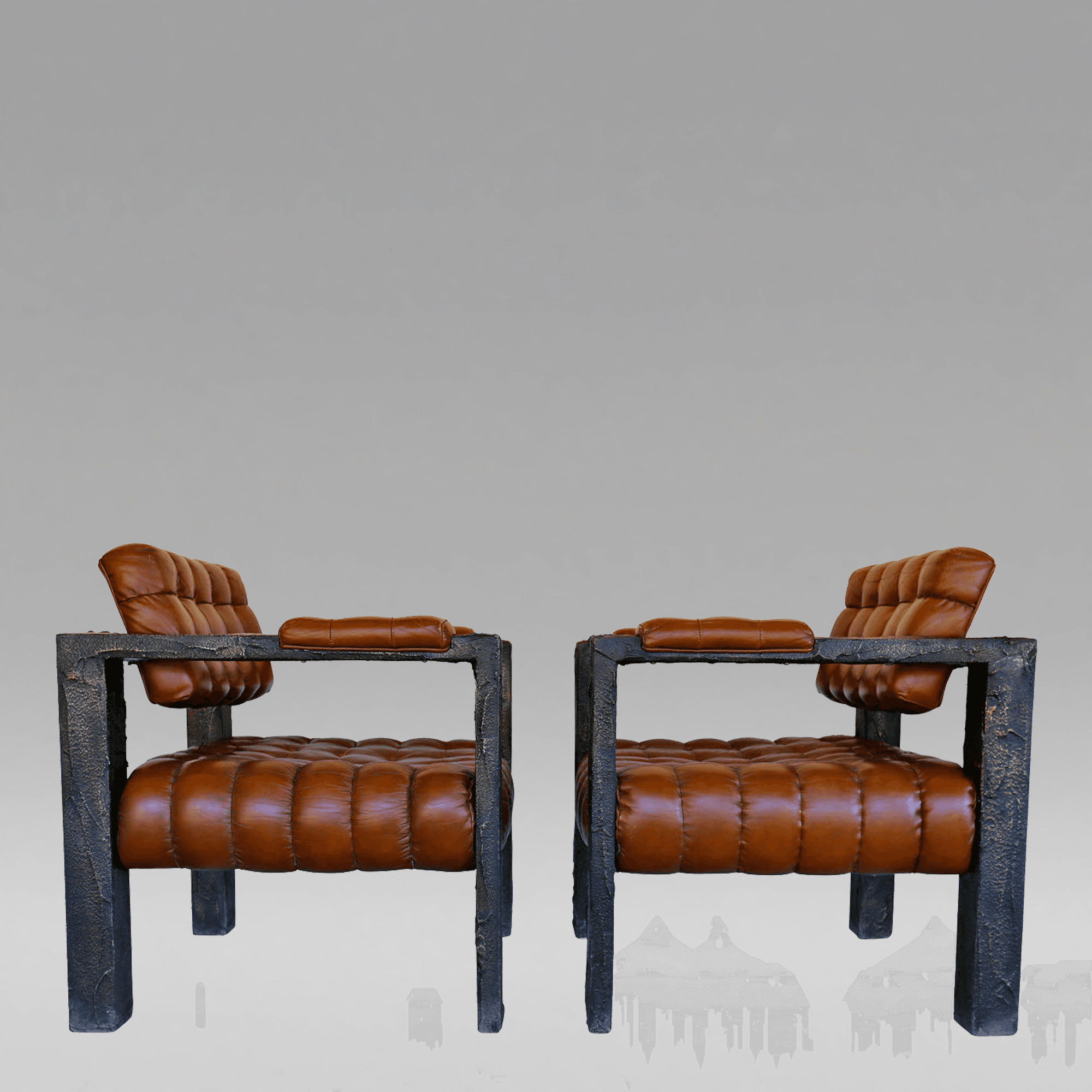 High Quality Paul Evans, Custom Sculpted Lounge Chairs, Signed PE 71. Archive.