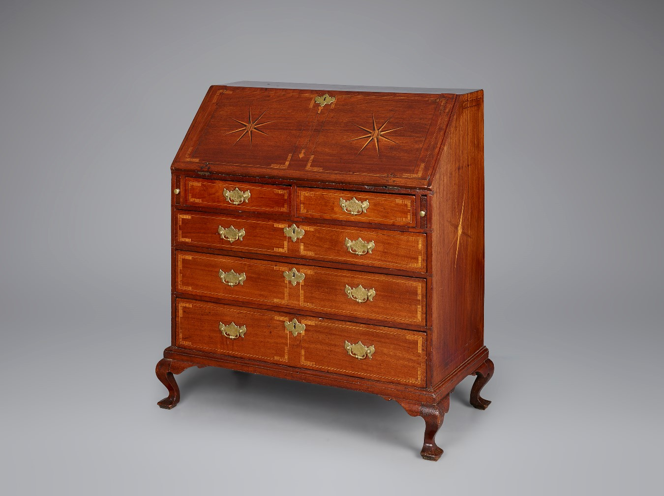 Slant Front Desk, Bristol, Rhode Island, 1740u201360. Walnut And Ash(?) And  Maple Inlay (primary); Chestnut And Pine (secondary). Private Collection  [RIF1642].