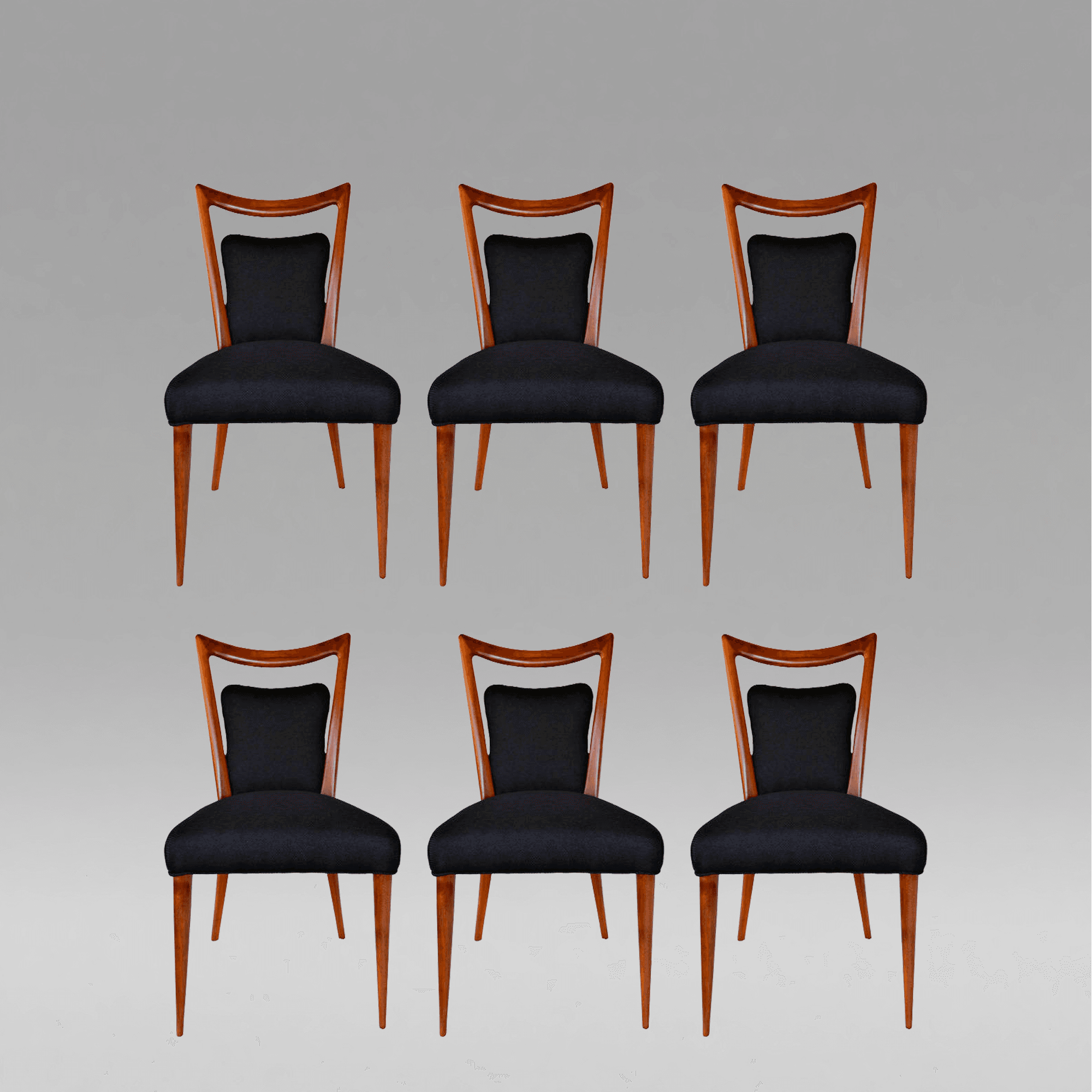 Rare Set Of Six Art Deco Dining Chairs By Melchiorre Bega, C. 1955.  Courtesy Of Archive.