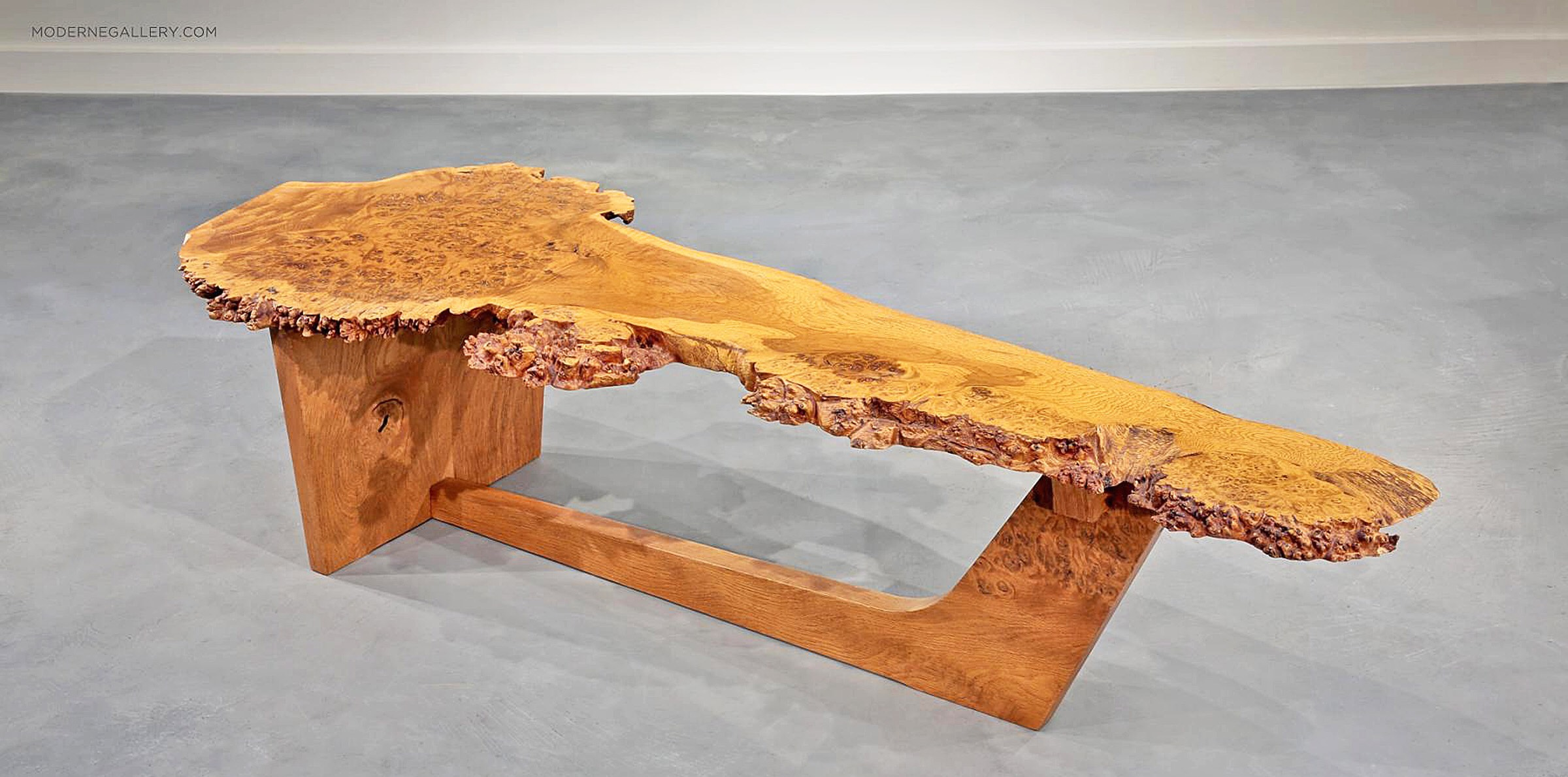 George Nakashima, Rare English Oak Burl Sled Based Coffee Table, 1982. From  Moderne Gallery.