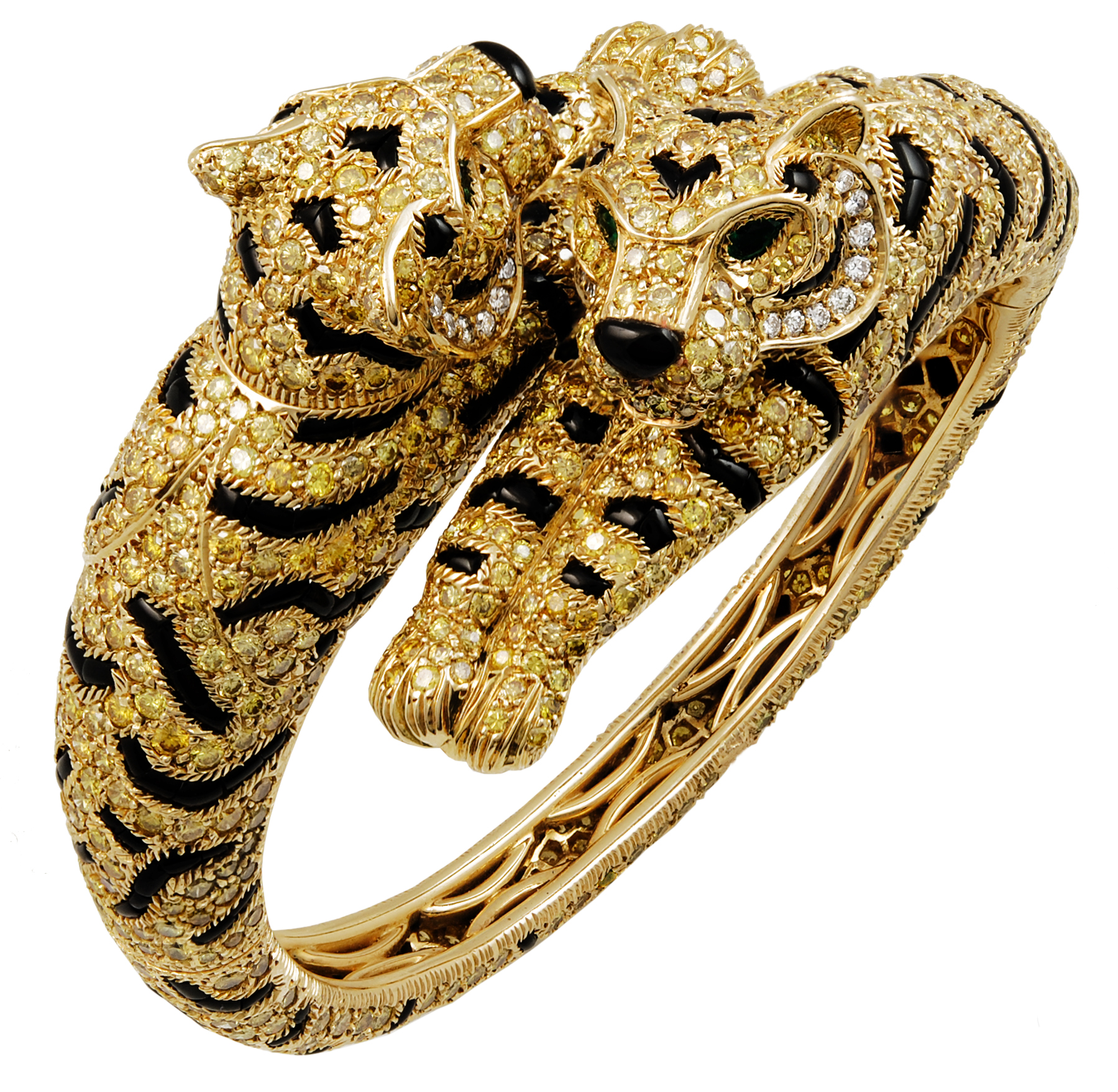 Cartier 18k Yellow Gold Fancy Diamonds Onyx And Emerald Two Headed Tiger Bangle Yafa Jewelry Los Angeles Antique Design Show