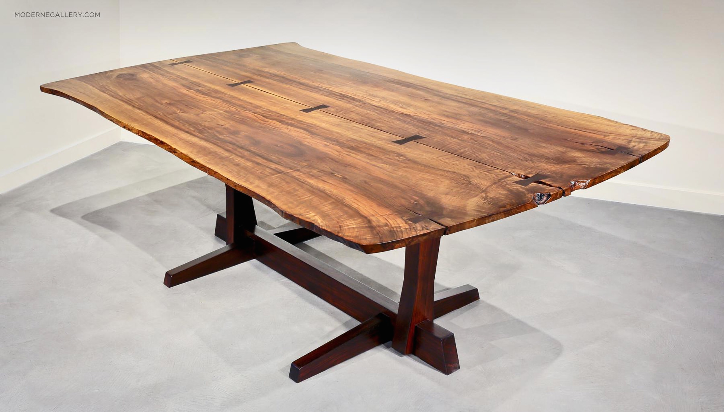 Superbe George Nakashima, Extremely Rare And Large Persian Walnut And Rosewood  Conoid Dining Table, 1971 2. Featuring Seven Rosewood Butterflies.