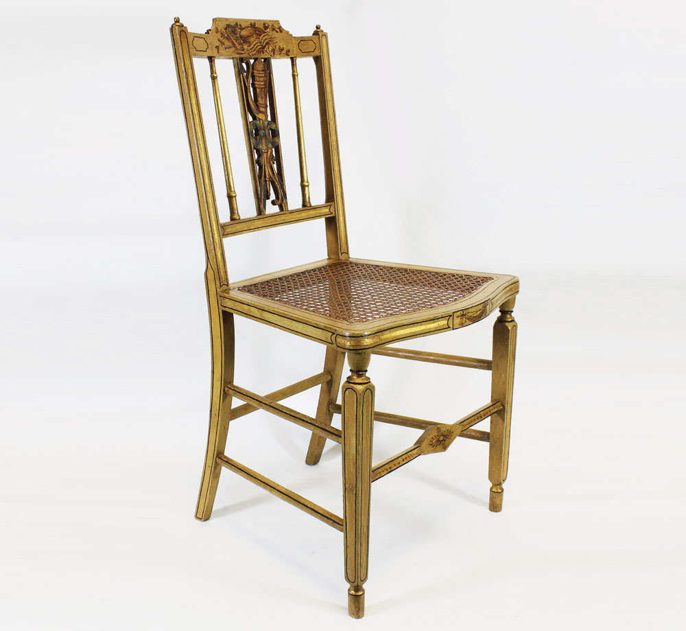 6: Side Chair, Probably Portsmouth, 1805u201318 15. Painted Maple, Sweet Gum,  Cherry. H. 34⅞, W. 18½, D. 19 In. New Hampshire Historical Society;  Purchase With ...