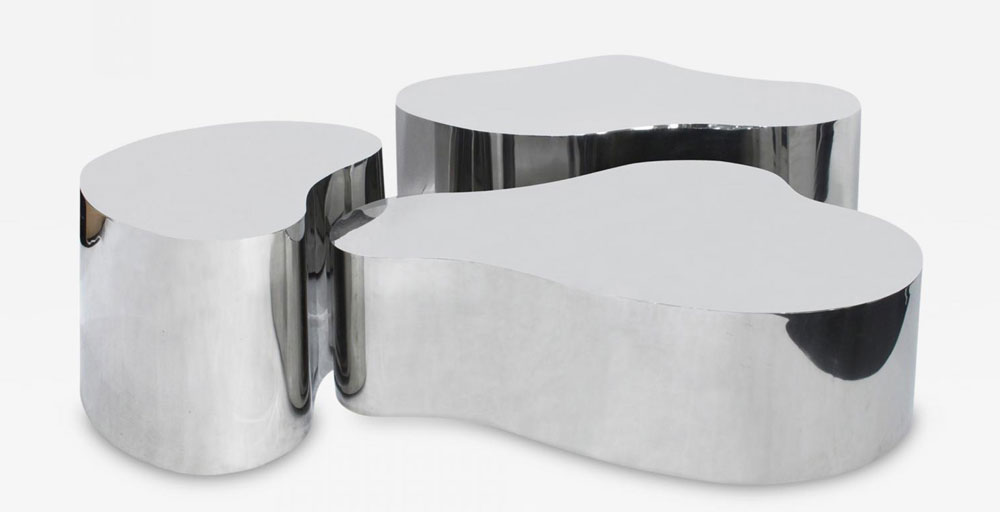 Original Set Of Free Form Coffee Tables Polished Stainless Steel Karl Springer Ca 1980s From Lobel Modern Nyc