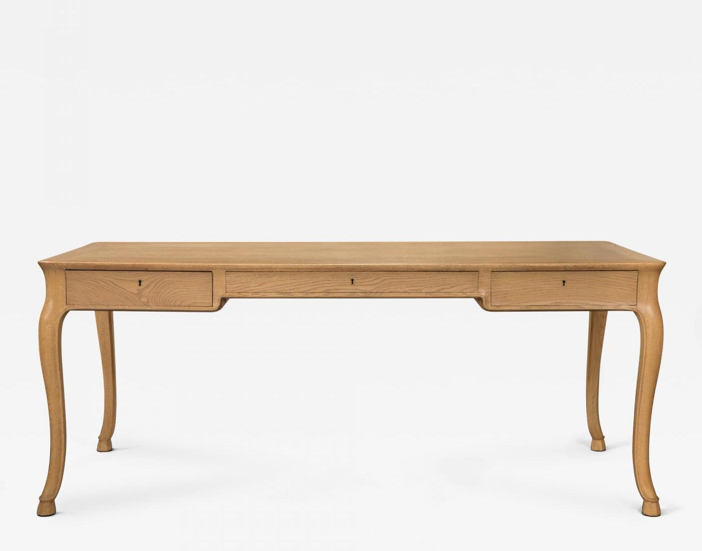 A Large Danish Elm And Oak Writing Table By Frits Henningsen, Circa 1950.  Offered By H.M. Luther.