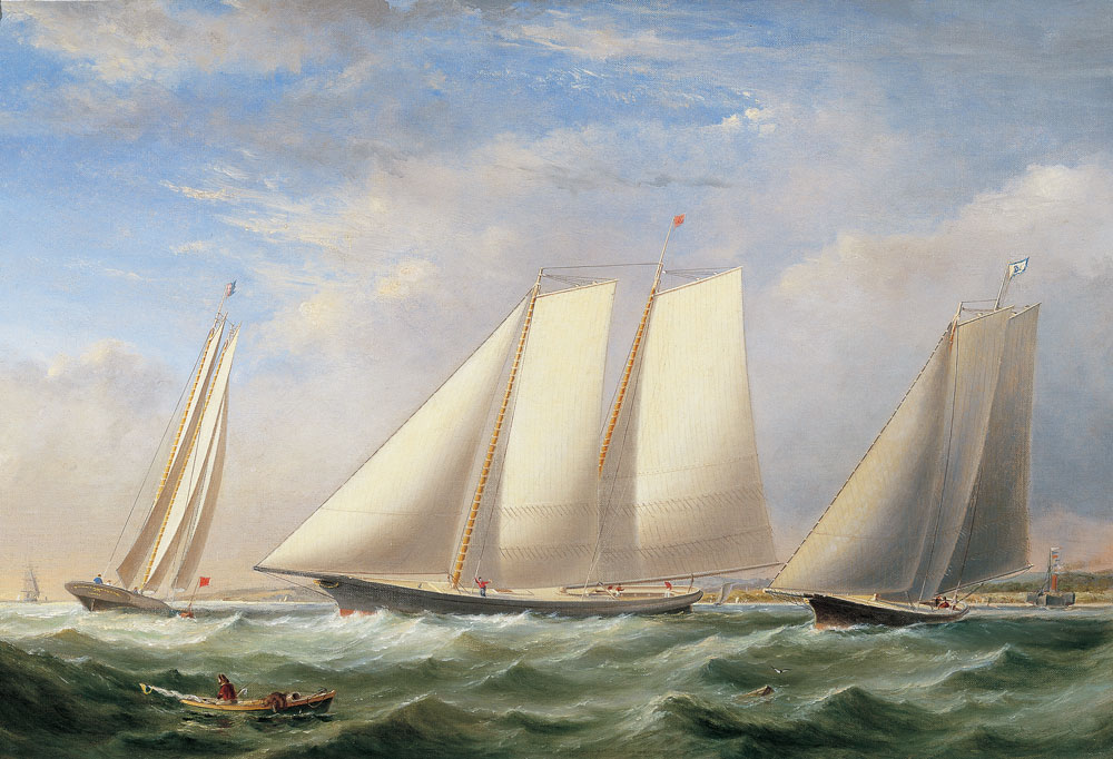 Fitz Henry Lanes Yacht America From Three Views Vessel Portrait Or
