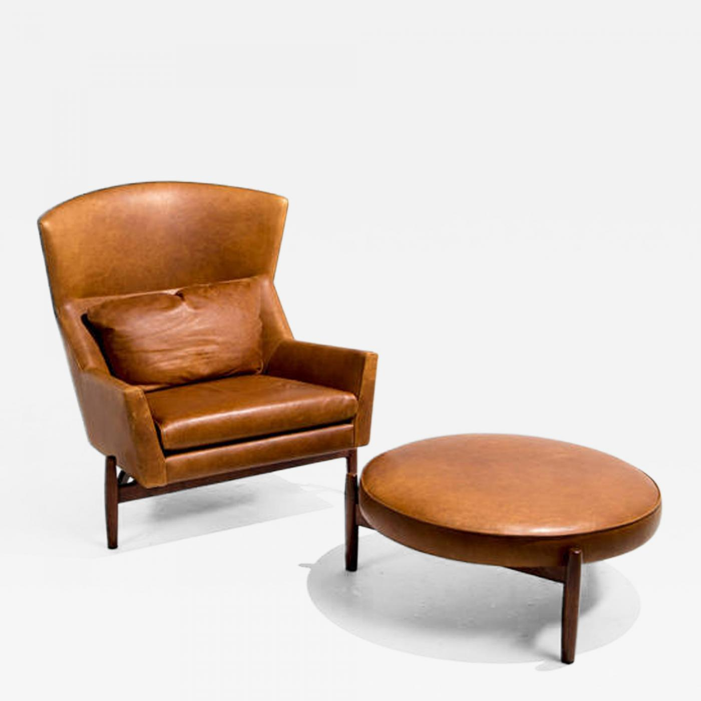 Charmant A Rare Example Of A Leather Jens Risom Chair And Ottoman, C. 1960. Limited  Numbers Of This Chair And Ottoman Exist. Matched Pairs Are More Scarce.
