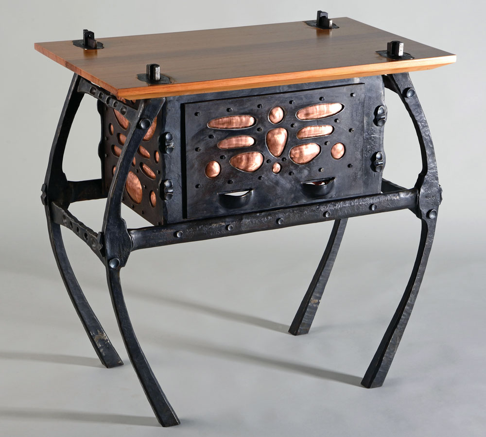 This Hand Forged Steel And Copper Table Features A Heart Pine Top Attached  With Hand Forged Steel Wedges. Offered By Rachel David Of Red Metal.