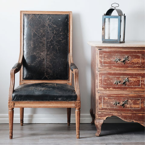 This early 19th-century Swedish Gustavian high back arm chair is faux  painted to look like mahogany, the decorating technique used to imitate  exotic or ... - Daniel & Cristina Of D.Larsson Discuss The Singular Beauty Of