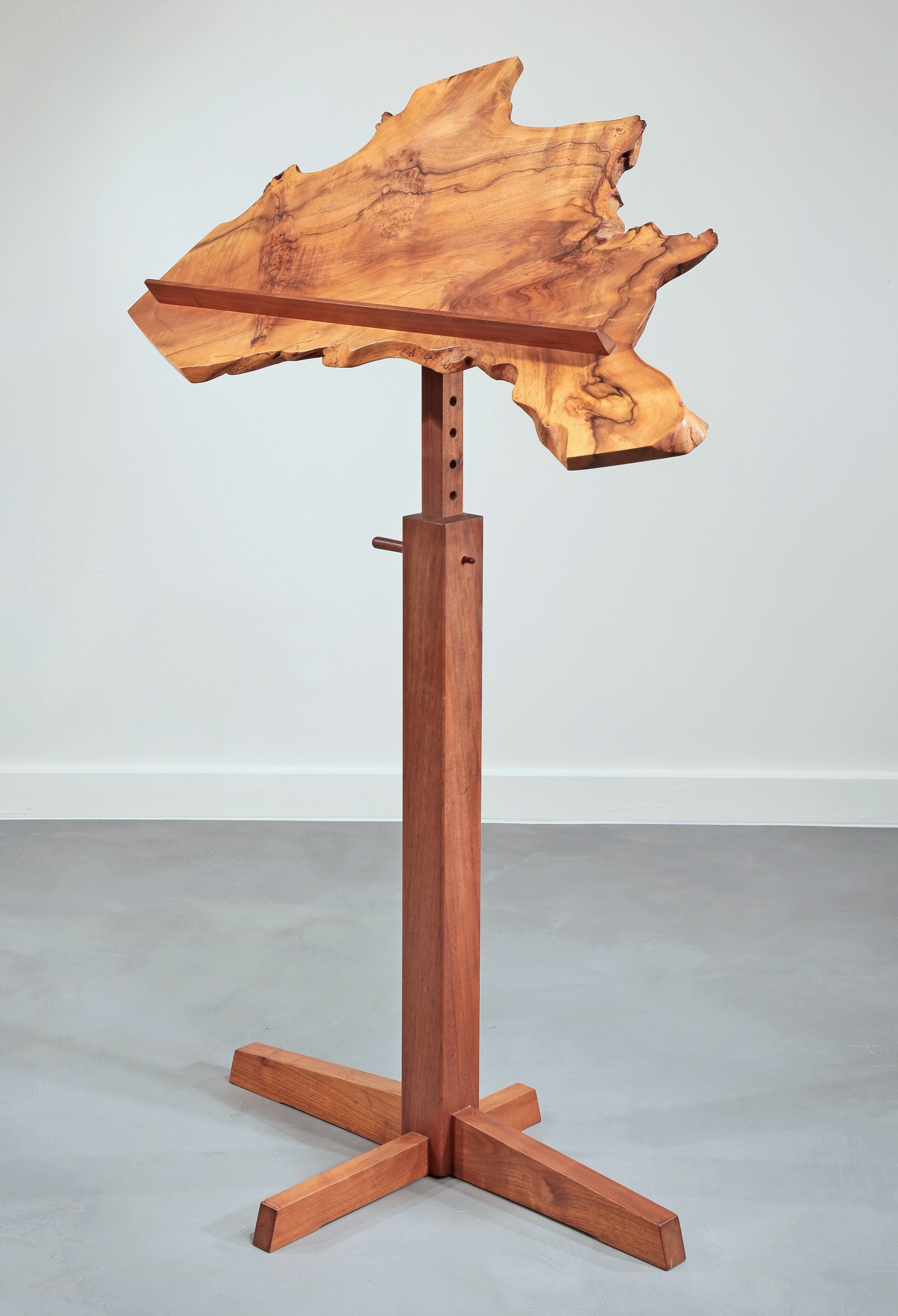 George Nakashima Unique Print Stand 1981 Featuring An English Walnut Board From Moderne Gallery