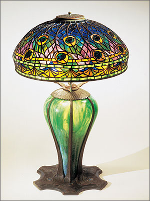 1  Peacock lamp, Tiffany Studios, 1900–1910. Leaded and blown glass,  bronze. H. 27-1 2
