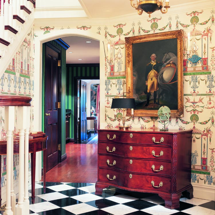 The Entryway Is Furnished With A Serpentine Chest, Circa 1773u2013 1785,  Attributed To Thomas Jones Of Philadelphia; An Early Nineteenth Century  Primitive ...